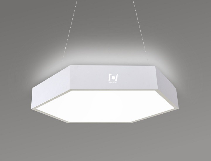 Direct Indirect Lighting Hexagon LED Panel Light Suspended LL0186UDS-80W