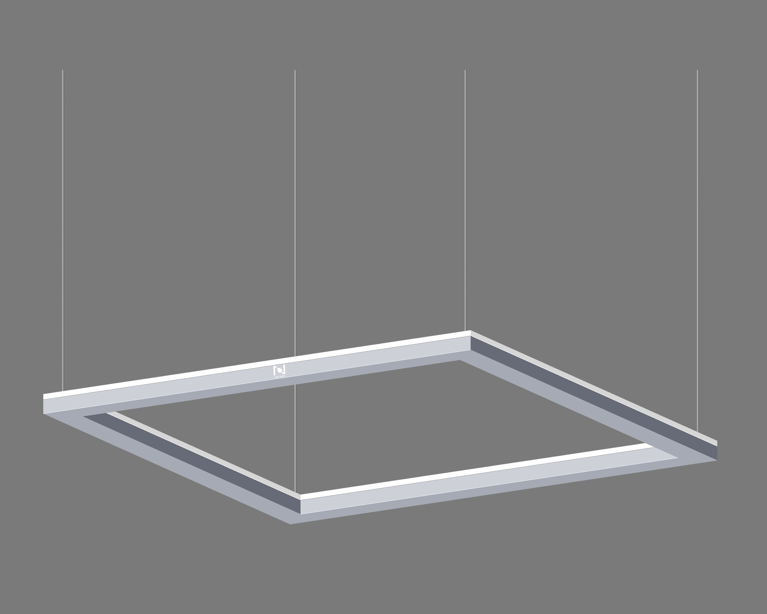 Suspended direct lit square frame light fixture LL0195S-80W-D